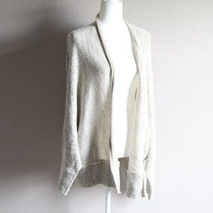 Free People Knitted Cream Chevron Open Cardigan L